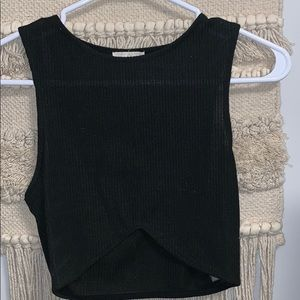 Silence + noise black ribbed tank with a cut out